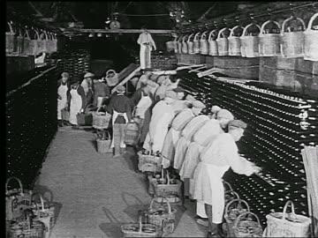 b/w 1920s/30s row of people working in champagne cave stacking bottles in wine rack / reims, france - korg bildbanksvideor och videomaterial från bakom kulisserna