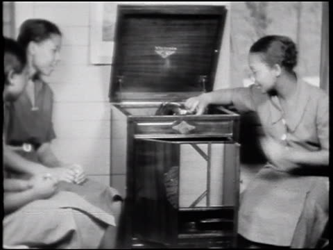 B/W 1930s 2 Black women playing record player / Alabama / documentary