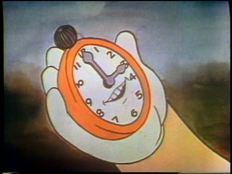 vidéos et rushes de 1930s animated close up hand holding clock with talking mouth on face - horloge