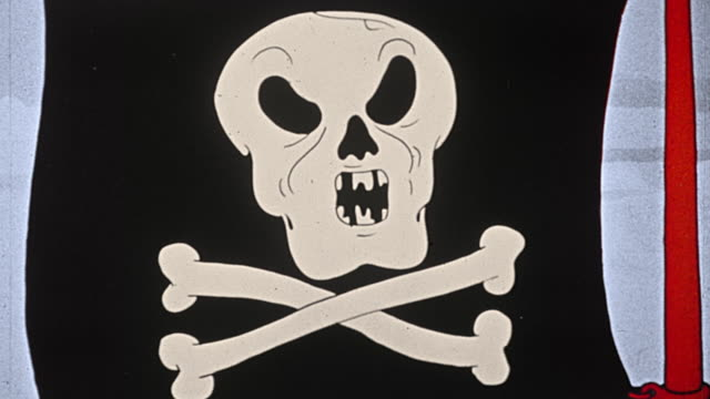 1930s animated close up waving pirate flag with singing skull + crossbones / skull eyes rolling - whatif点の映像素材/bロール