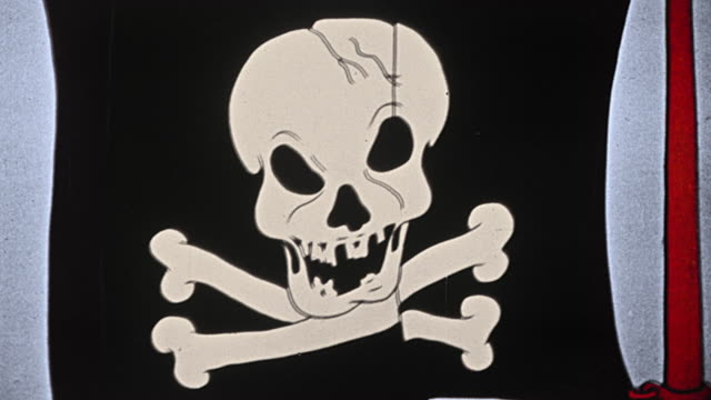 1930s ANIMATED close up zoom in TO extreme close up waving pirate flag with skull + crossbones