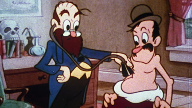 vídeos y material grabado en eventos de stock de 1930s animated doctor using stethoscope to listen to man's stomach / both surprised by sound - animación biomédica