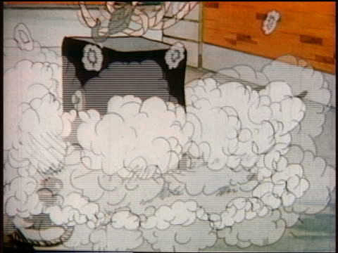 vídeos de stock, filmes e b-roll de 1930s animated safe falling on man standing next to smaller man with pan on head / smoke flying - morto