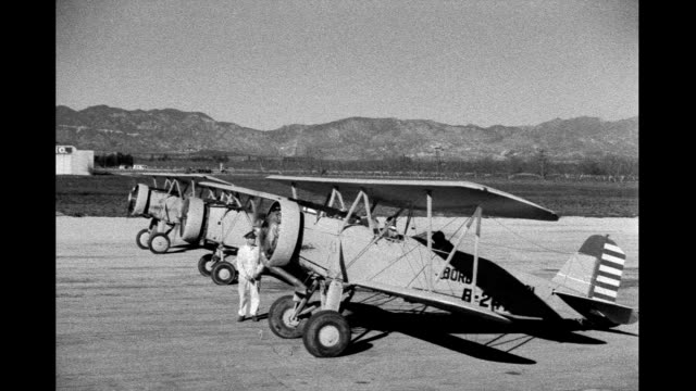 1930s - 'border patrol' biplanes flying over desert - 1942 stock videos & royalty-free footage