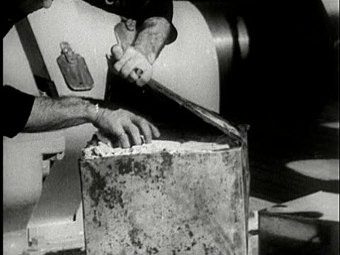 1930s B/W MS, CU, COMPOSITE, Sailor eating cracker from inside metal can