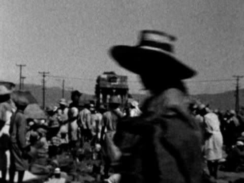 1930s b/w ms pan crowded market scene / haiti - haiti stock videos & royalty-free footage