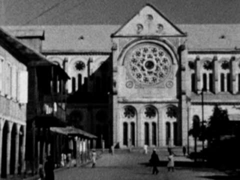 1930s b/w ws tu pan exterior of church / haiti - haiti stock-videos und b-roll-filmmaterial