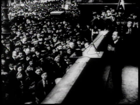 1930s bw josef goebbels speaks forcefully in german to crowd of thousands / germany - human limb stock videos & royalty-free footage