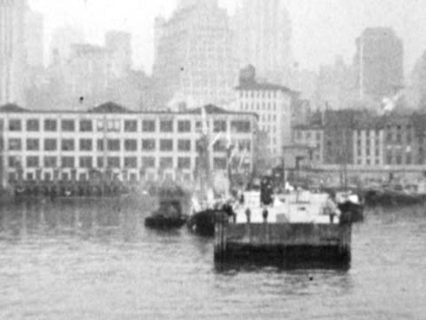 1930s b/w montage new york harbor pier 20 with boats, standard fruit and steamship co. near brooklyn bridge / new york city, new york, usa - new york harbor stock videos & royalty-free footage
