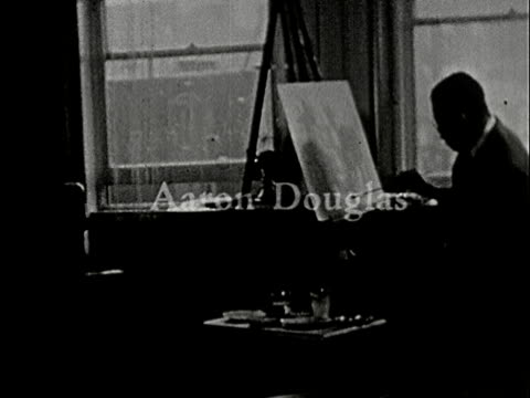 1930s b/w ms, multiple exposure, artist painting on easel in studio, new york city, new york state, usa - art studio stock videos & royalty-free footage