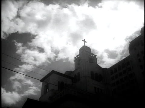 1930s la church steeple with a cross on it / miami, florida, united states - steeple stock videos & royalty-free footage