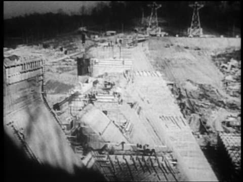 b/w 1930s dam under construction / tennessee river valley - new deal video stock e b–roll