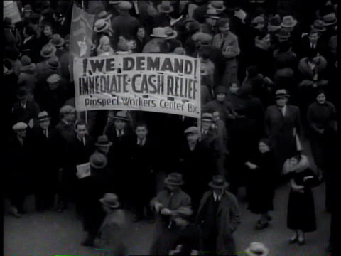 1930s ms demonstrators holding banner at unemployment demonstration / new york new york united states - union square new york city stock videos and b-roll footage