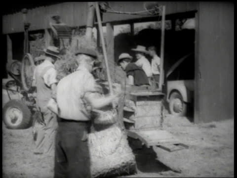 1930s ha farm workers unloading bales of hay from baler / united states - hay stock videos & royalty-free footage