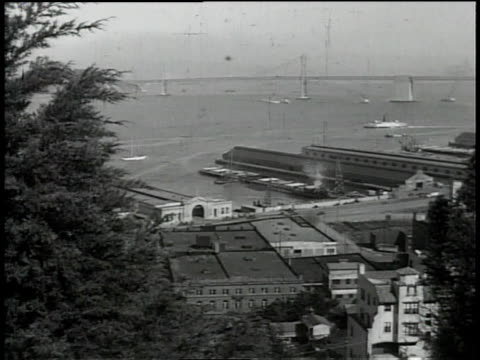 1930s ws fog obscuring the golden gate bridge / california, united states - san francisco bay stock videos & royalty-free footage