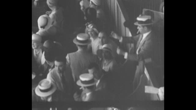 vs 1930s gangsters wearing straw hats hanging around at race track including organized crime boss al capone [exact day not known] - straw hat stock videos & royalty-free footage