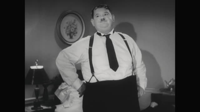 1930s hardy appears annoyed - suspenders stock videos and b-roll footage