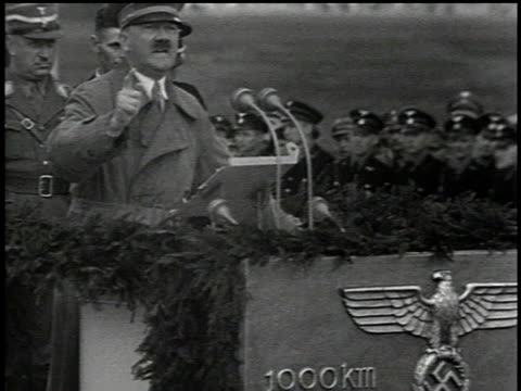 1930s MS Hitler gesturing for emphasis as he gives speech opening Autobahn / Germany
