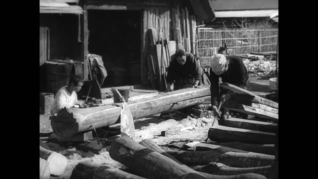 japan fishing ws fishermen working mending nets cu male hands arranging small fish on rack to dry fish drying on racks lumber ws men chopping wood... - drying rack stock videos and b-roll footage