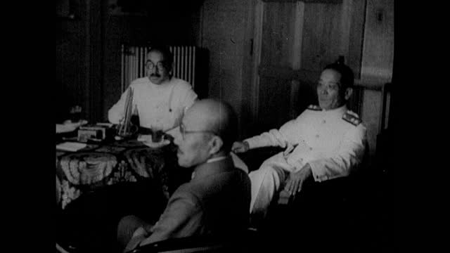 japan rise of militarism foreign minister yosuke matsuoka sitting at table w/ other military leaders general tojo ms general hideki tojo - 1930 stock-videos und b-roll-filmmaterial