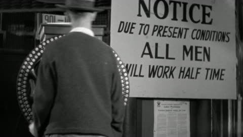 """1930s medium shot blue collar workers punching timeclock / """"all men will work half time"""" sign in background - great depression stock videos & royalty-free footage"""