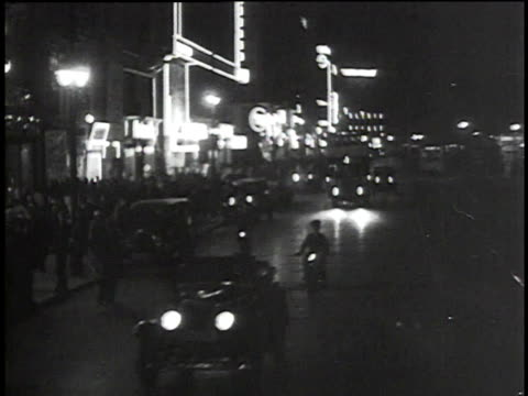 vídeos de stock e filmes b-roll de 1930s montage berlin streets at night / berlin, germany - 1930
