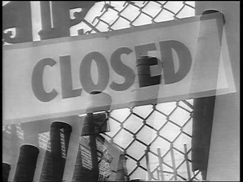 b/w 1930s montage factory smokestacks closed sign no men wanted sign / great depression - closed sign stock videos and b-roll footage
