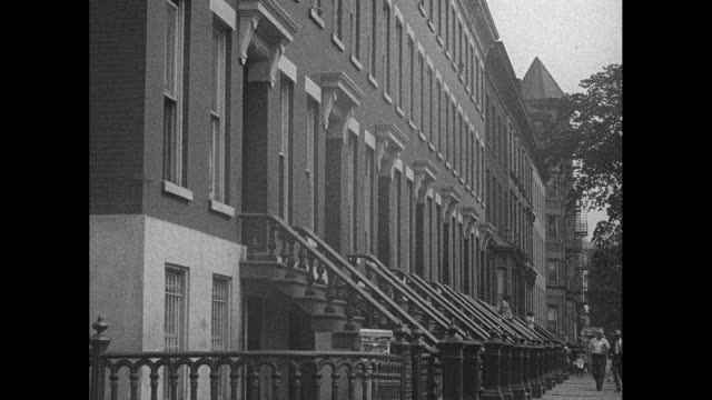 1930s new york city terraced house sidewalk - brick house stock videos & royalty-free footage