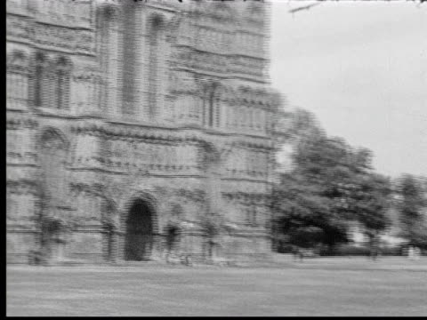 1930s ms tu pan cathedral and spire - church stock videos & royalty-free footage