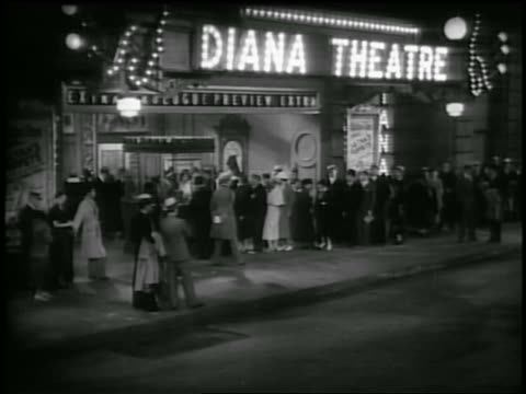 B/W 1930s people standing in line in front of Diana Theatre