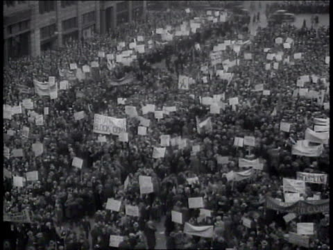 1930s protesters rallying at unemployment demonstration / new york, new york, united states - great depression stock videos & royalty-free footage