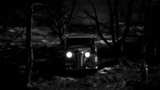a 1930s roadster creeps through woods at night. - 1930 1939点の映像素材/bロール