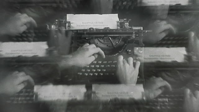 1930s selective focus montage of hands typing on typewriter - typewriter stock videos & royalty-free footage