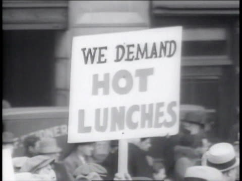 1930s cu sign at unemployment demonstration / new york new york united states - union square new york city stock videos & royalty-free footage