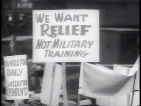 stockvideo's en b-roll-footage met 1930s cu signs at unemployment demonstration / new york new york united states - plakkaat