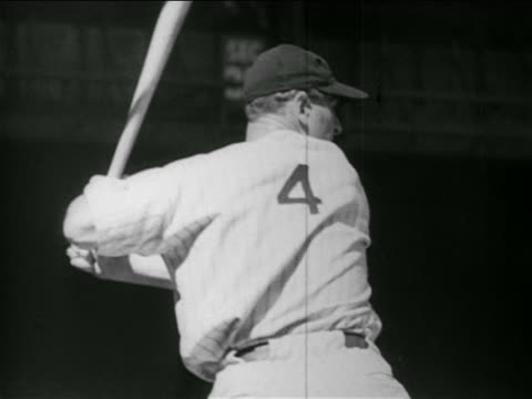 B/W 1930s slow motion REAR VIEW Lou Gehrig batting