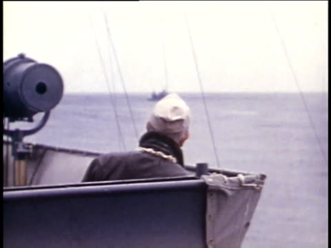 1940s ms admiral halsey and other officers on deck of aircraft carrier - william halsey stock-videos und b-roll-filmmaterial