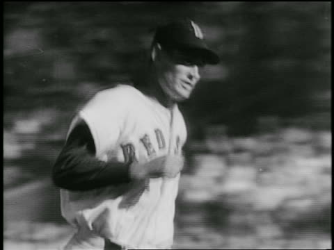 B/W 1940s baseball player Ted Williams in Red Sox uniform running in game / Littlest Expert doc