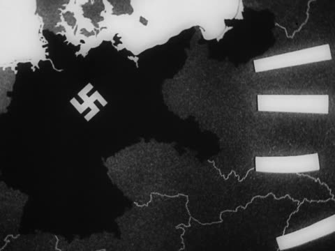 1940s black and white map of europe with swastika on nazi empire / animated lines representing attack on germany - nazi germany stock videos and b-roll footage