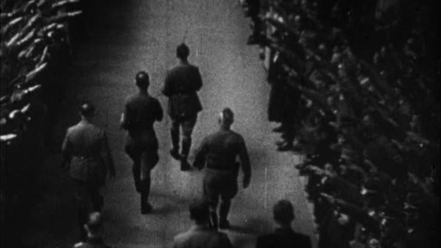 1940s b/w zo ws ha adolf hitler entering rally / germany - third reich stock videos & royalty-free footage
