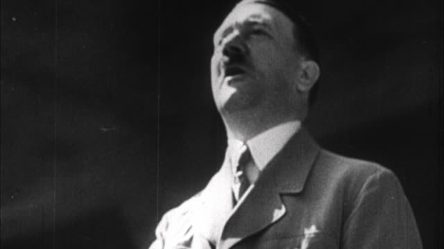 1940s B/W CU Adolf Hitler having speech / Germany