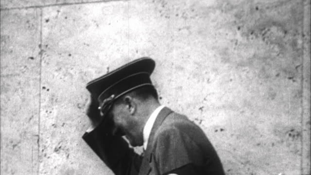 1940s b/w ms adolf hitler saluting from balcony / germany - third reich stock videos & royalty-free footage