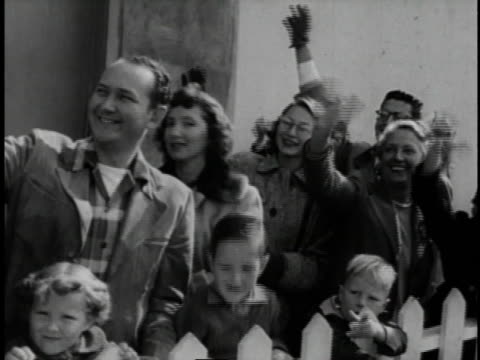 1940s b/w americans greeting soldiers returning from war / united states - allied forces stock videos & royalty-free footage