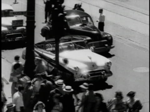 stockvideo's en b-roll-footage met 1940s b/w americans shopping in postwar chicago / illinois, united states  - panty