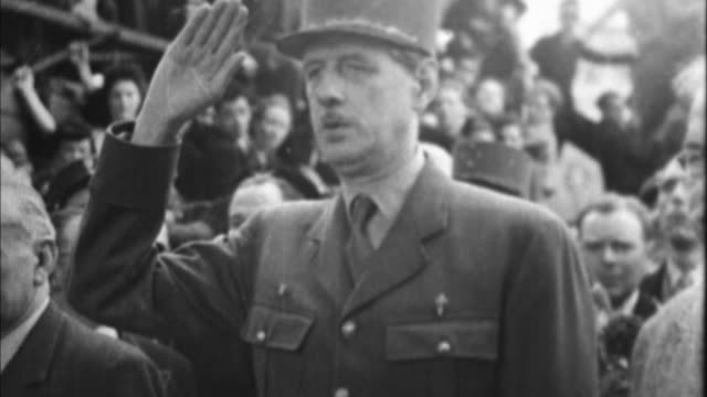 1940s b/w charles de gaulle saluting / france - 1940 stock videos & royalty-free footage