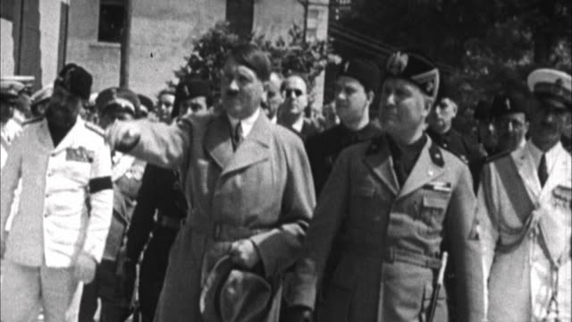 1940s b/w montage adolf hitler and benito mussolini / germany - benito mussolini stock videos & royalty-free footage