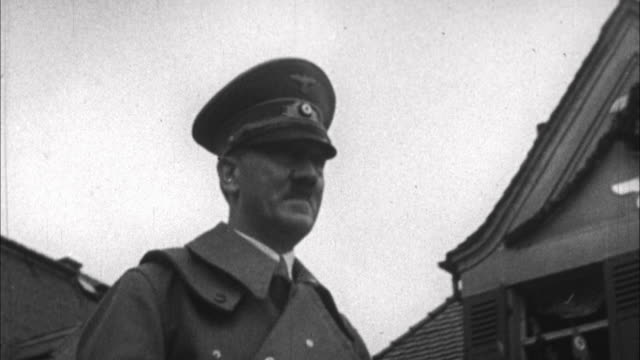 1940s b/w montage adolf hitler being cheered by german people / germany - third reich stock videos & royalty-free footage