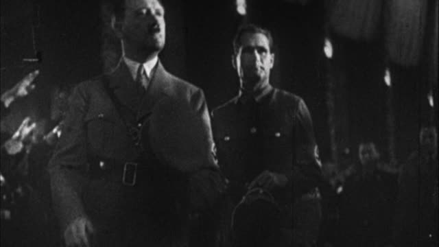 1940s b/w montage adolf hitler entering rally / germany - third reich stock videos & royalty-free footage