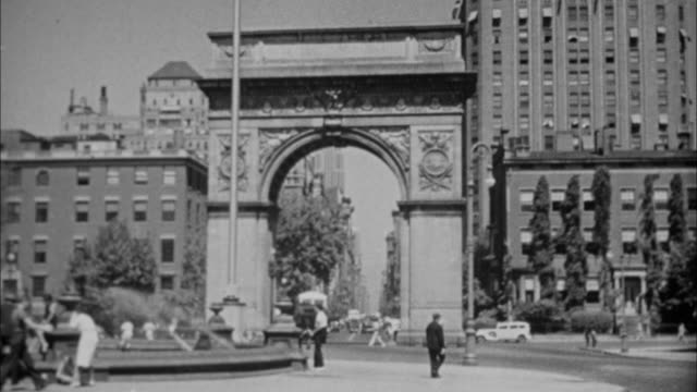 1940s b/w montage kids playing in fountain at washington square / new york city, new york, usa - greenwich village stock videos & royalty-free footage