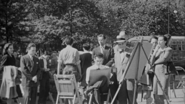 1940s B/W MONTAGE Painters painting in Central Park / New York City, New York, USA